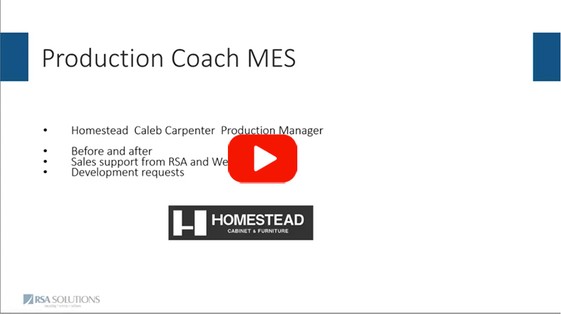 Homestead Cabinet and Furniture Move to MES - Excerpt From Webcast
