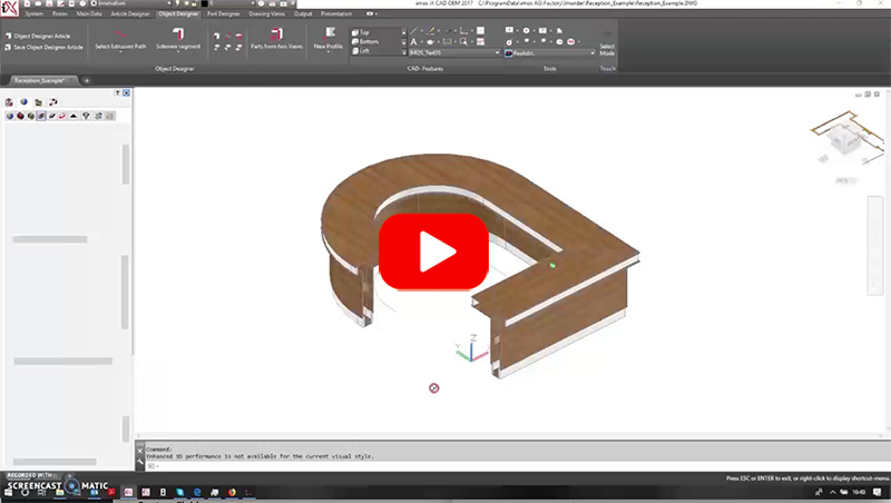 reception desk created in woodCAD|CAM engineering data to Biesse
