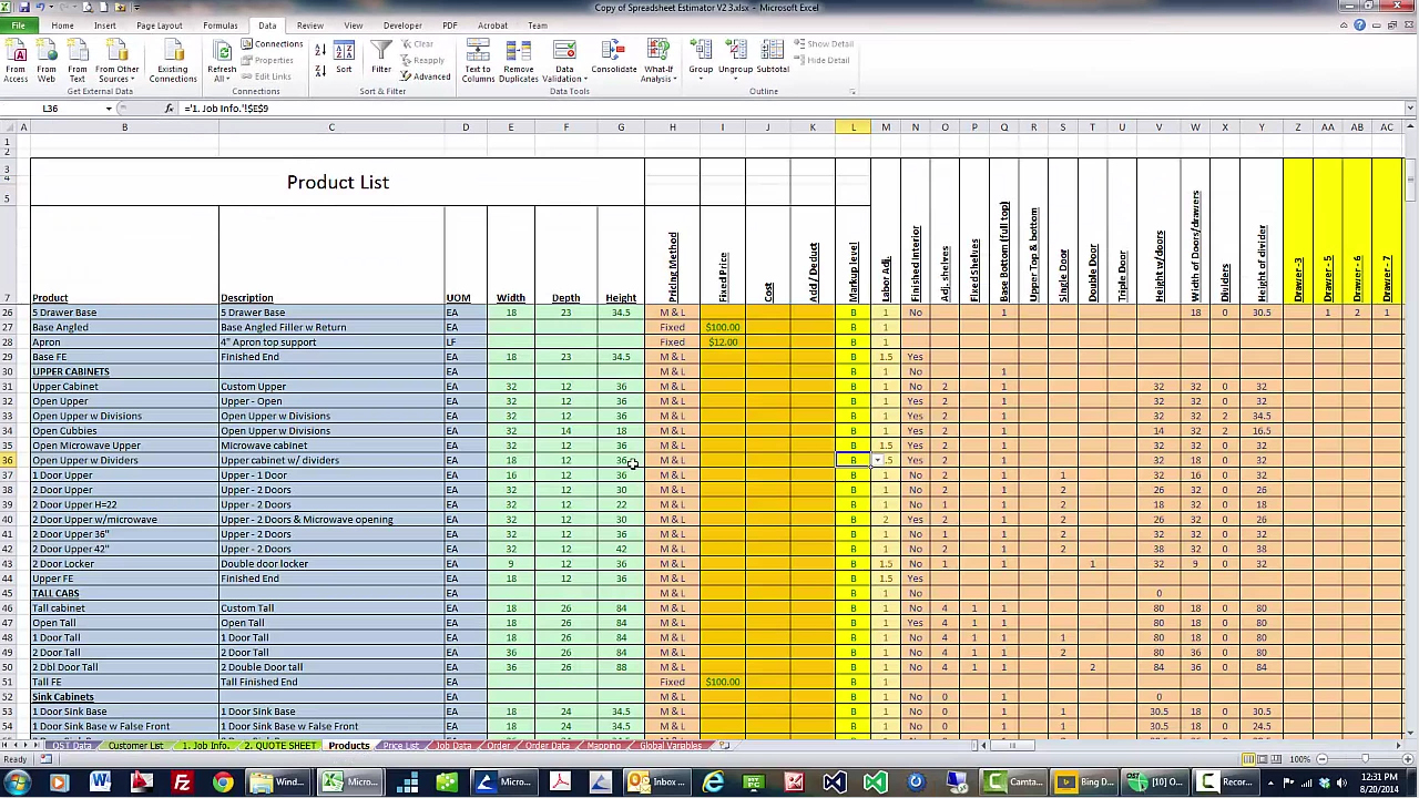 Estimator Spreed Sheet Sample Report