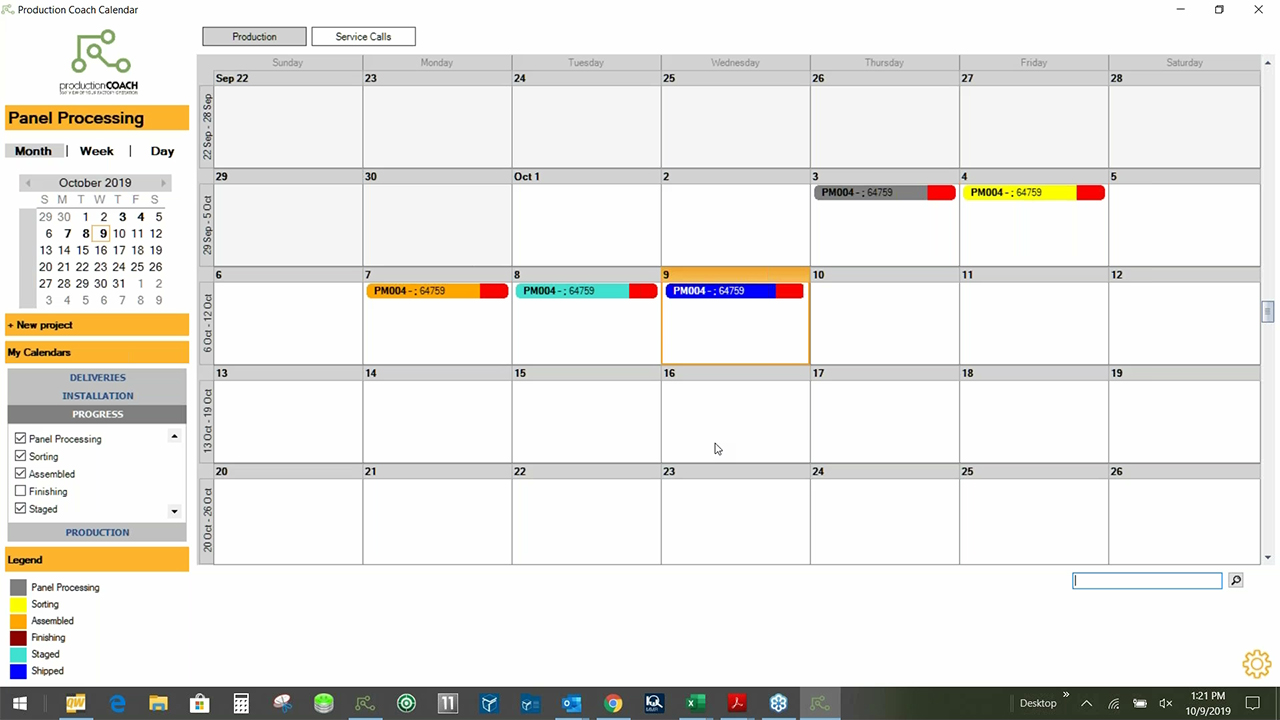 Production Coach Interface - Calendar