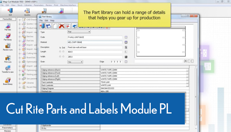Cut Rite Parts and Labels Module PL