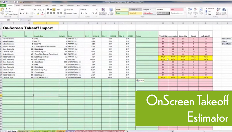 OnScreen Takeoff Software Feature Speadsheets