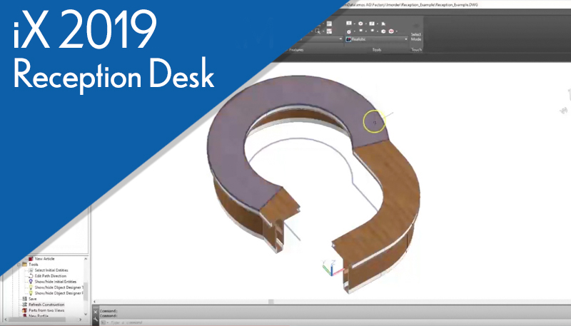 reception desk created in iX 2019 engineering data to Biesse